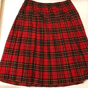 Retro plus size plaid pleated skirt size 18 womens